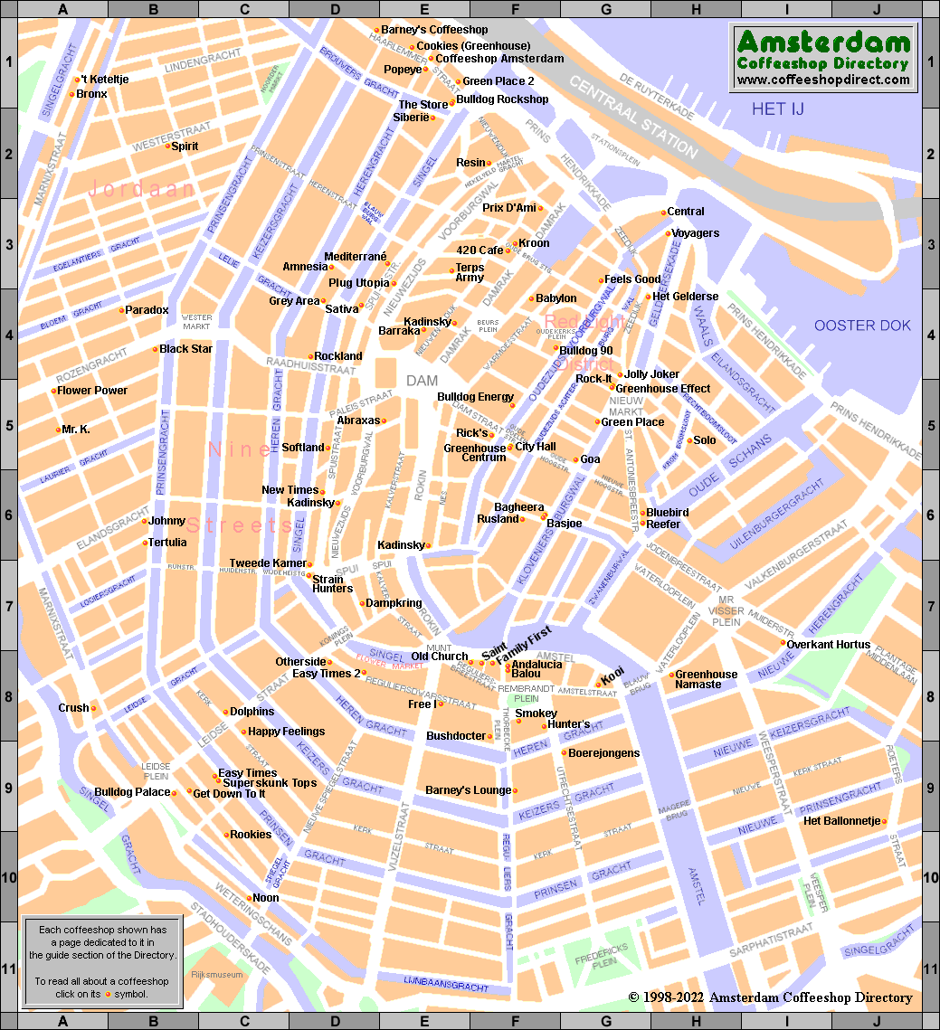 Map of Open Amsterdam Coffeeshops 2017 ACD – Amsterdam Tourist Map Pdf