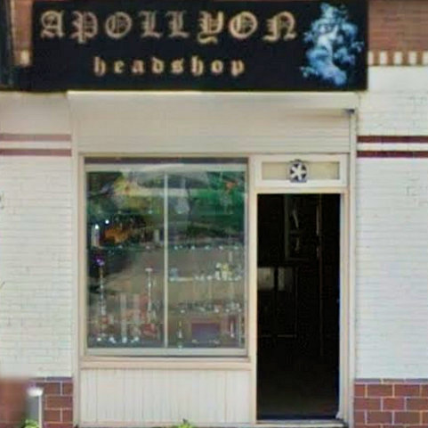 head shop Apollyon, Rotterdam, Zuid Holland for pipes and paraphernalia with address, telephone number, opening times, email address, Facebook, Instagram, map, inside view, picture
