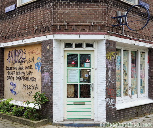 coffee shop Goed-Goed, Amsterdam, Noord Holland for cannabis. Historical information about a closed business.