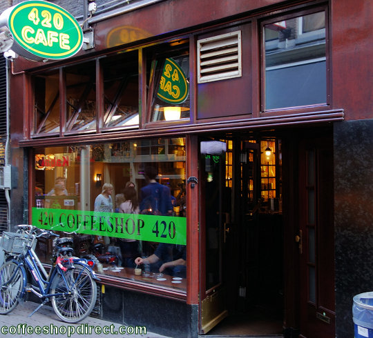 coffee shop 420 Cafe, Amsterdam, Noord Holland for cannabis with address, telephone number, opening times, Facebook, Instagram, reviews, menu, map, inside view, picture