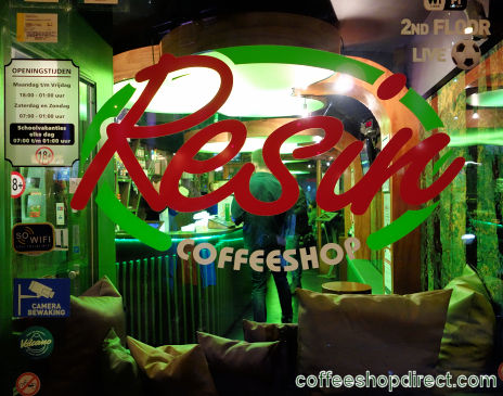 coffee shop Resin, Amsterdam, Noord Holland for cannabis with address, telephone number, opening times, Facebook, Instagram, reviews, menu, map, picture