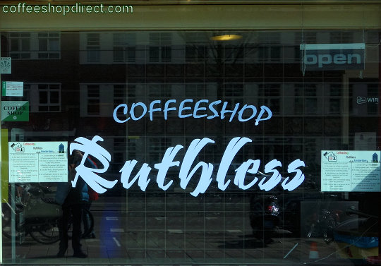 coffee shop Ruthless, Amsterdam, Noord Holland for cannabis with address, telephone number, opening times, email address, Facebook, Instagram, reviews, map, inside view, picture