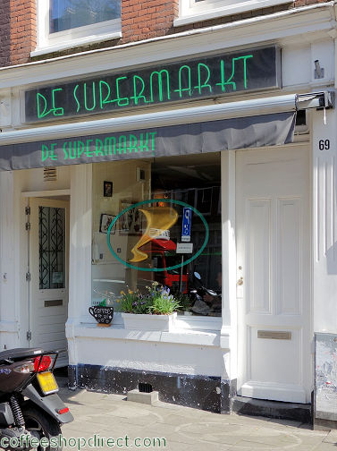 coffee shop De Supermarkt, Amsterdam, Noord Holland for cannabis with address, telephone number, opening times, email address, Facebook, Instagram, reviews, menu, map, inside view, picture